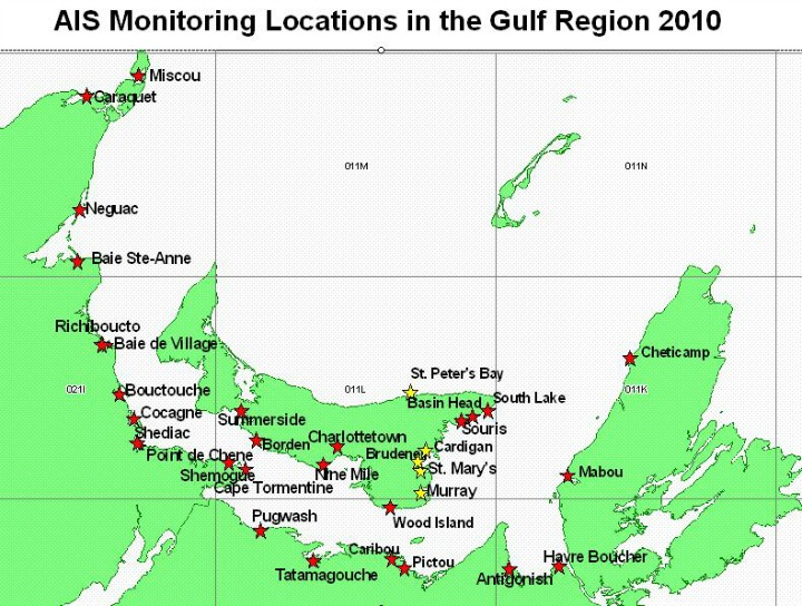 Map of Gulf Region with DFO's Tunicate Monitoring sites for 2010, with the exception of the new Escuminac site (DFO)